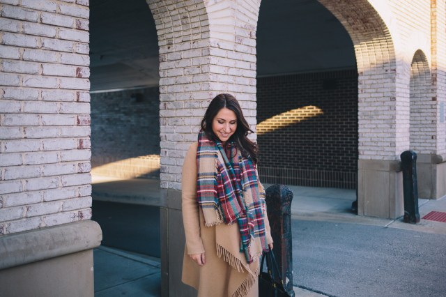 Scarf Weather on Waketon Road Blog wearing plaid blanket scarf from XOMandySue Boutique