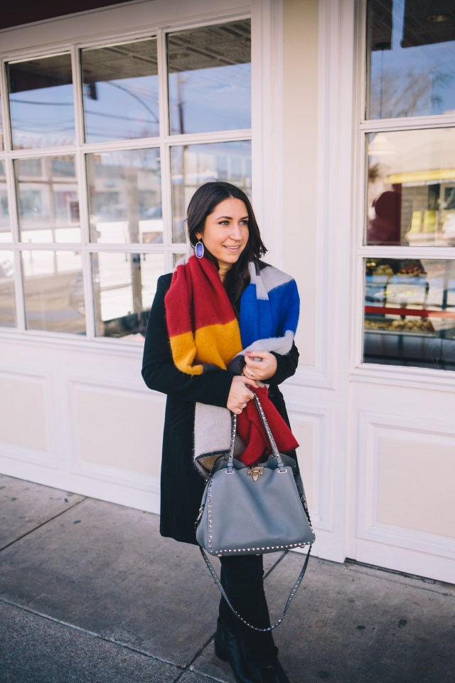 Color Block Scarf on Waketon Road with Chicwish
