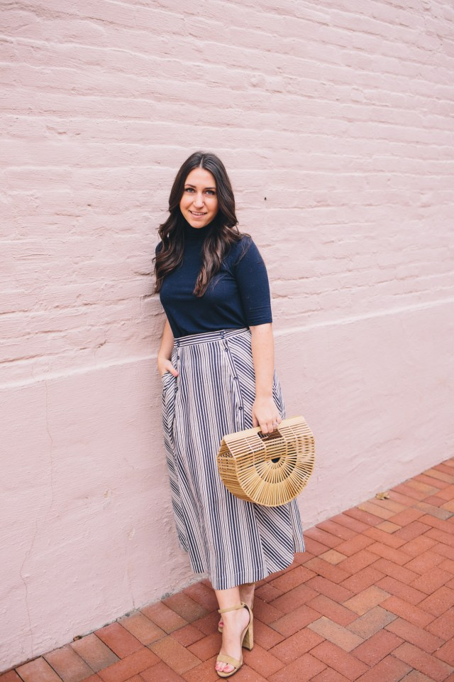 Spring Blue on Waketon Road wearing BB Dakota stripe skirt