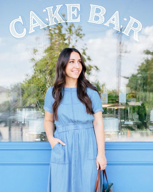 A Few Random Things About Me on Waketon Road Blog wearing denim dress