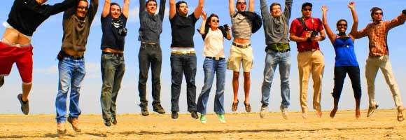Men and Women Jumping - Success