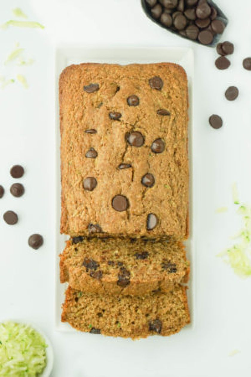 Chocolate Chip Zucchini Banana Bread - EASY to make and perfectly moist!! #healthy #chocolatechip #zucchinibread #recipe | www.wakeuptowaffles.com