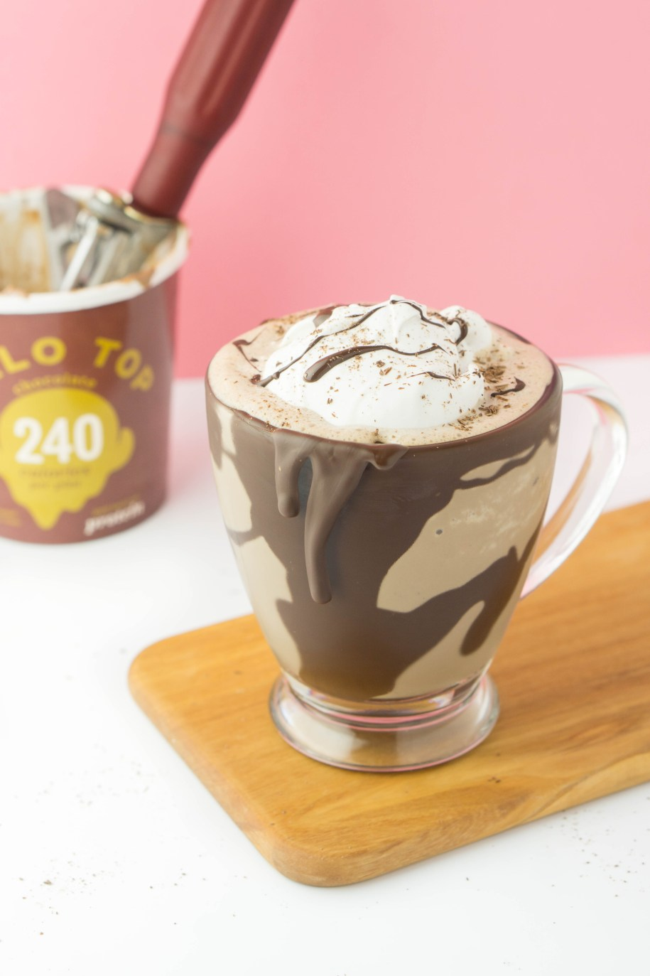 Low Calorie Frozen Hot Chocolate! The most amazing drink made with the most amazing ice cream, HALO TOP! #healthy #protein #light #Milkshake | www.wakeuptowaffles.com