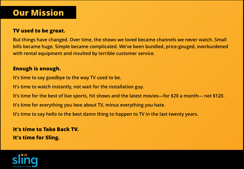 Sling TV Mission - Sling TV: More of the Same
