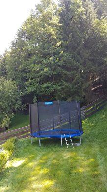 Trampolin am Waldrand Ferienhaus Sacherl Wald Kobel