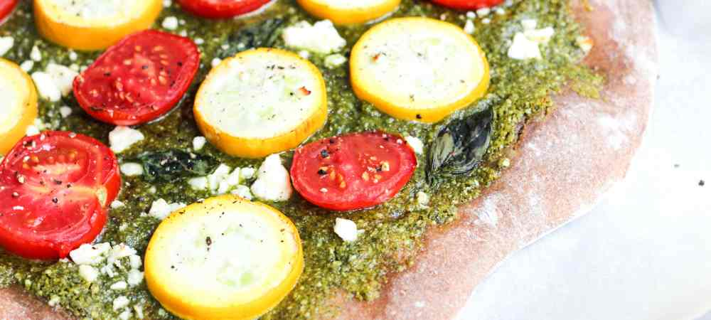 Homemade Hemp Seed Pesto Pizza with Summer Squash, Tomatoes & Feta