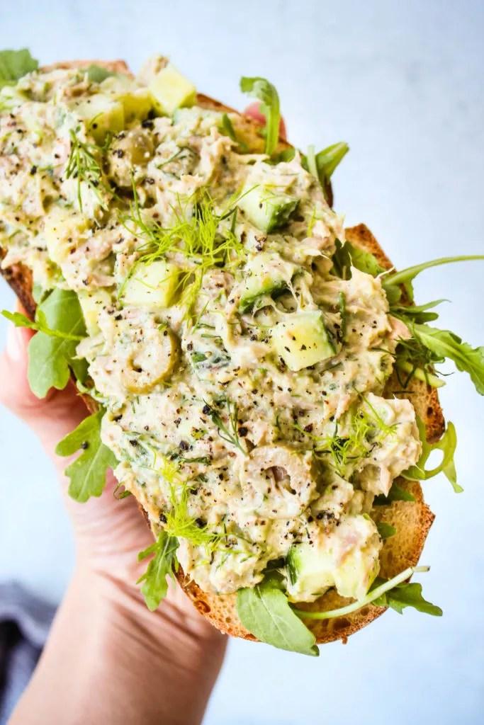 No-Mayo, High-Protein Tuna Salad with Greek Yogurt & Avocado