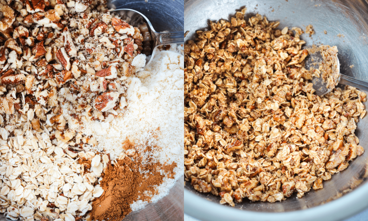 gluten free crisp topping with almond flour, oats, pecans, walnuts