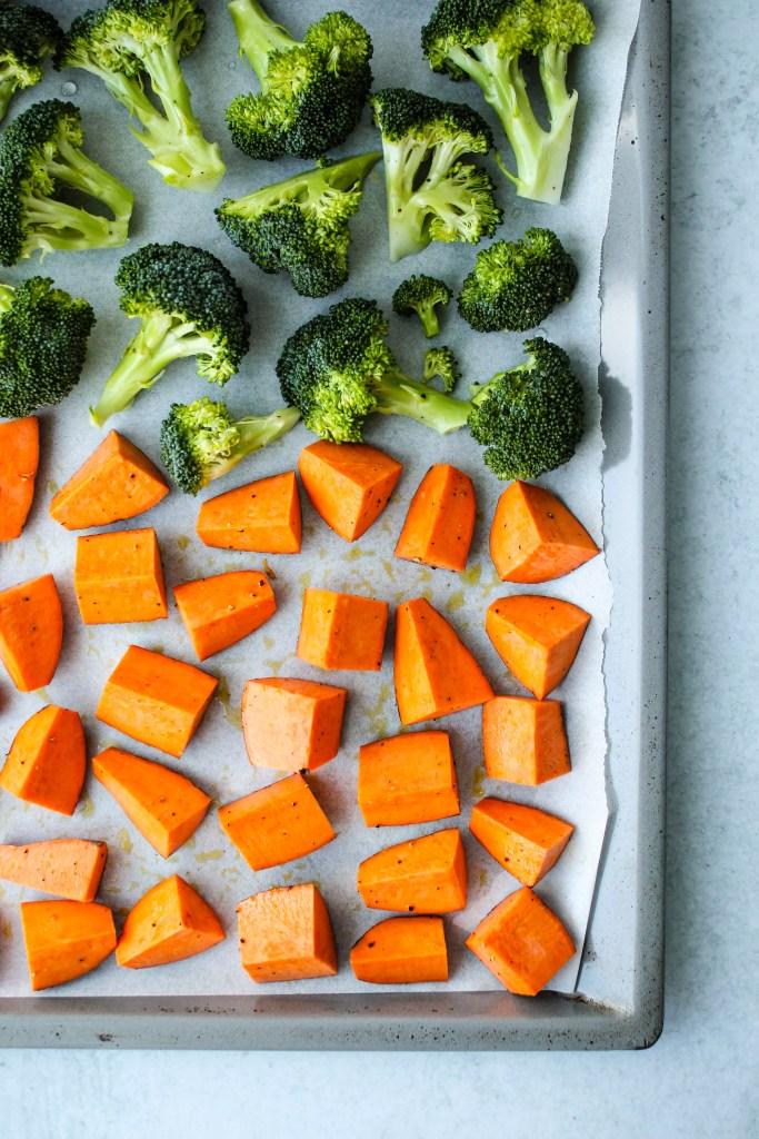chopped sweet potatoes and broccoli on baking dish