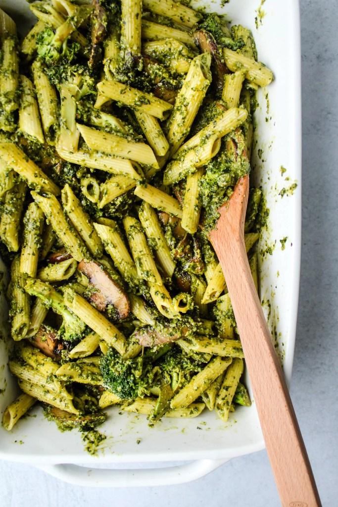 penne pasta, mushrooms, broccoli tossed in pesto in white casserole dish