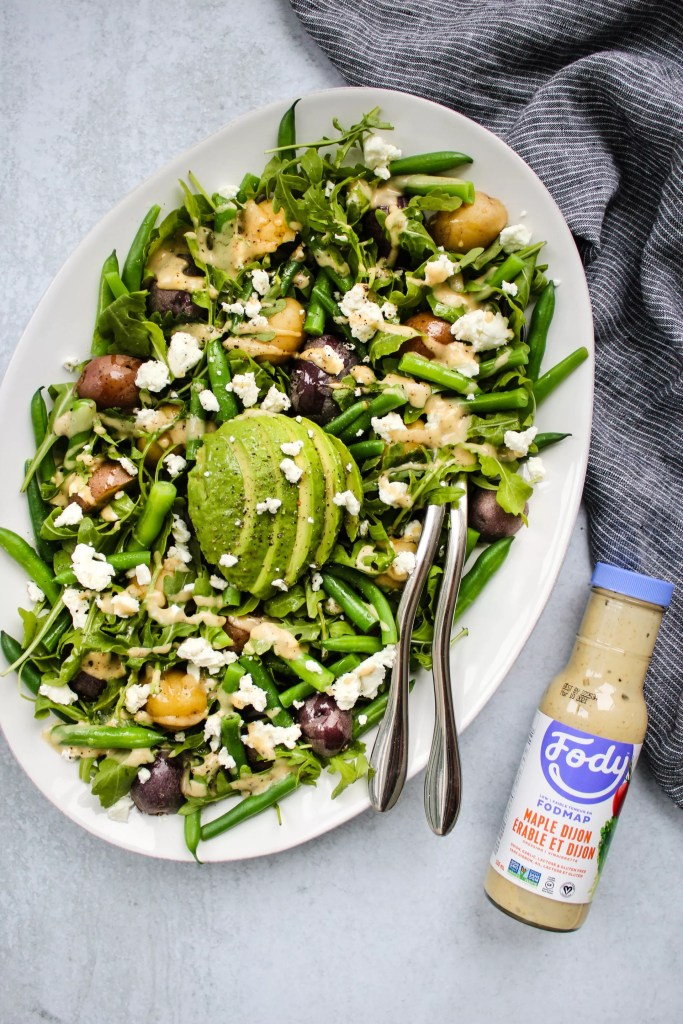 low fodmap green bean and potato salad with fody foods maple dijon dressing