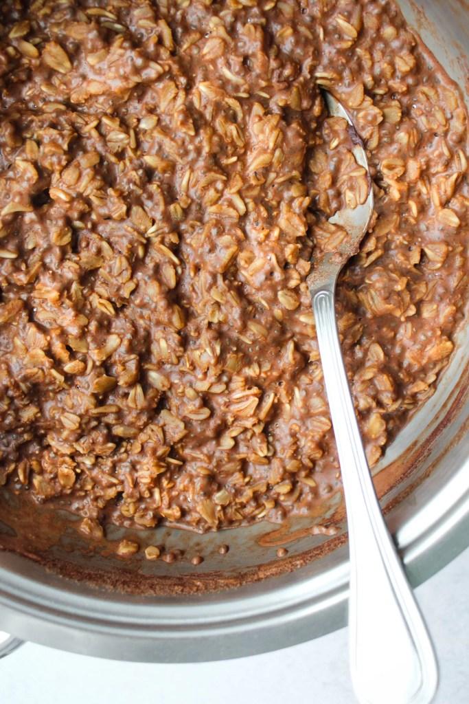 vegan chocolate oatmeal in saucepan