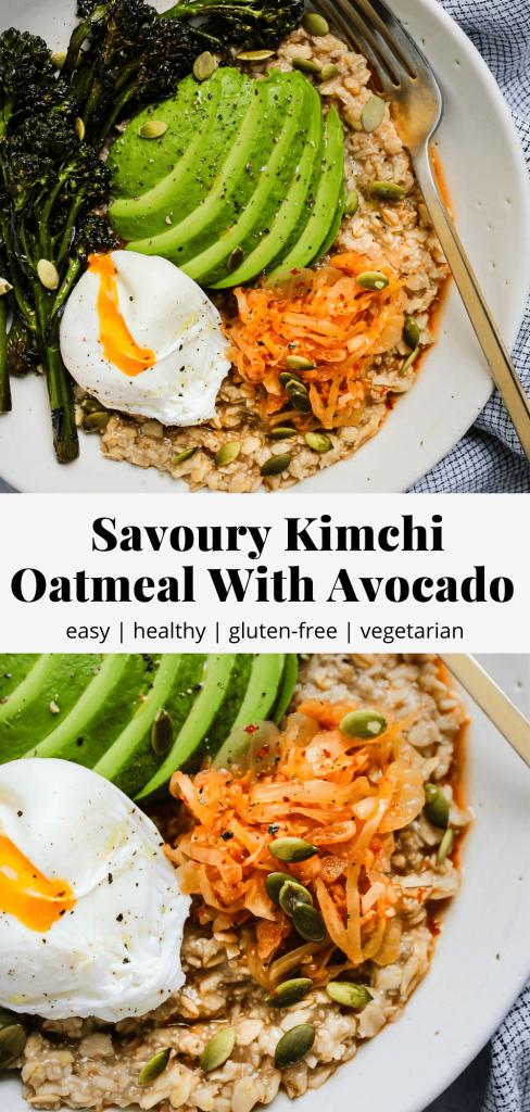 savoury kimchi oatmeal pinterest graphic