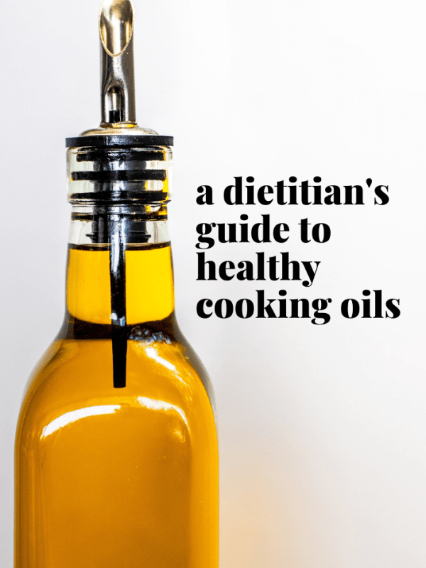 glass bottle of cooking oil with text overlay