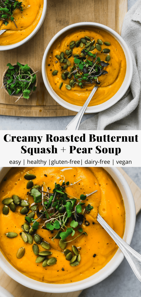 pinterest graphic for roasted butternut squash and pear soup