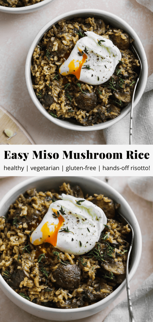 pinterest graphic for easy miso mushroom rice bowl recipe