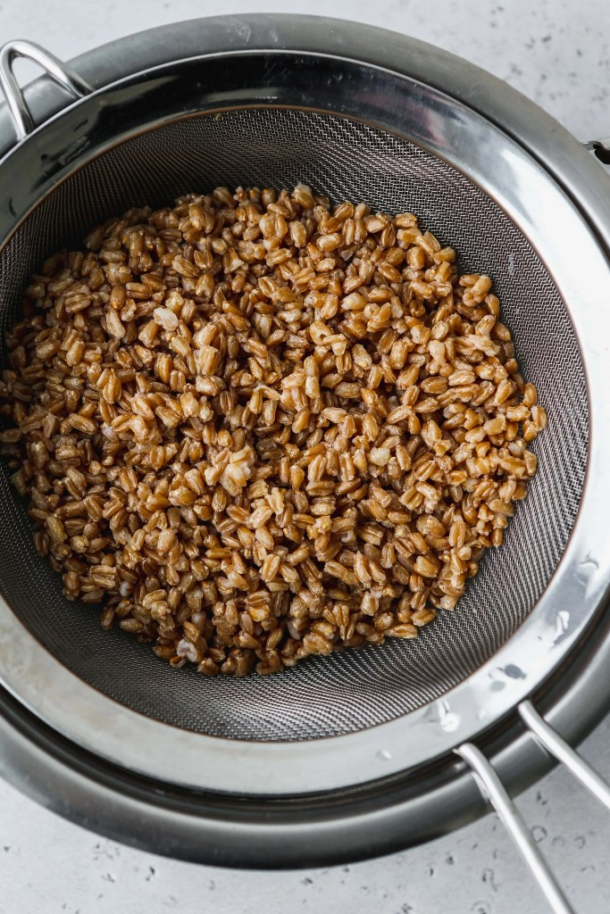 overhead photo of cooked farro draining in a sieve