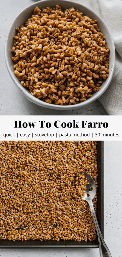 pinterest graphic for how to cook farro blog post