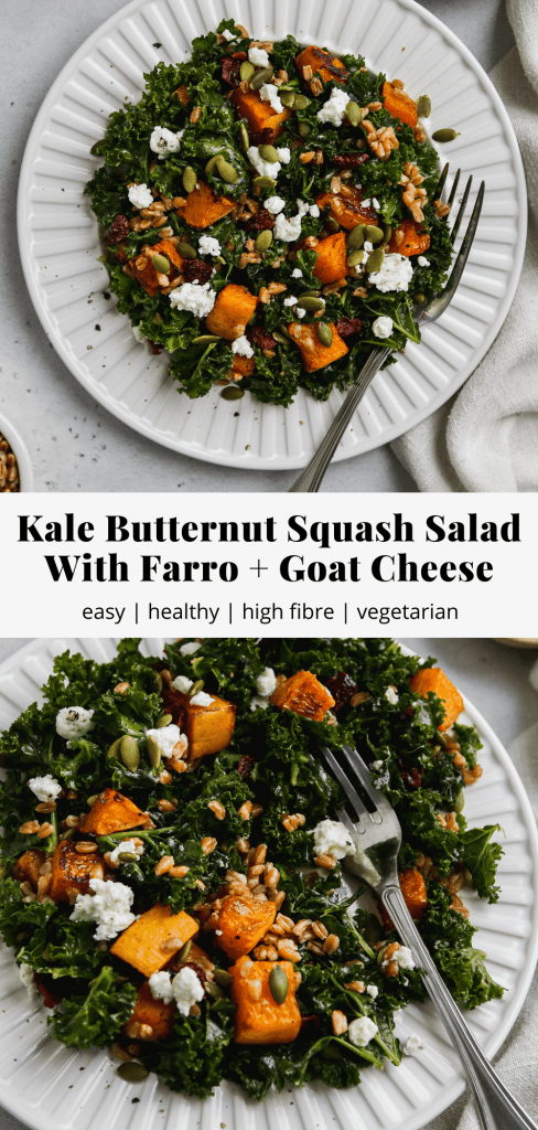 pinterest graphic for kale butternut squash salad with farro and goat cheese recipe