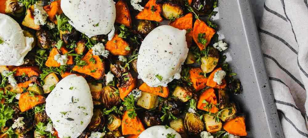 Brussels Sprouts & Sweet Potato Sheet Pan Hash