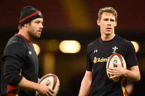 Leigh Halfpenny and Liam Williams during training at the Principality Stadium.