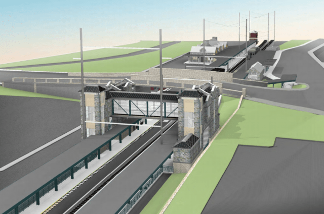 SEPTA rendering of the proposed ADA compliant platforms and elevator towers.