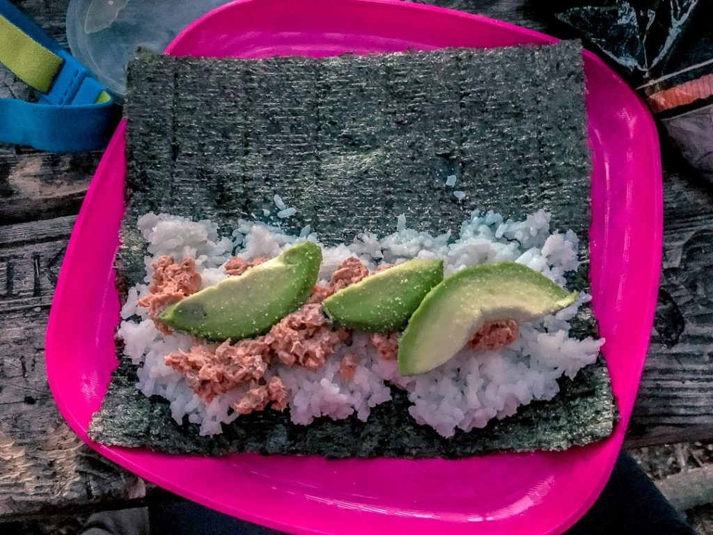 Sushi camping meal