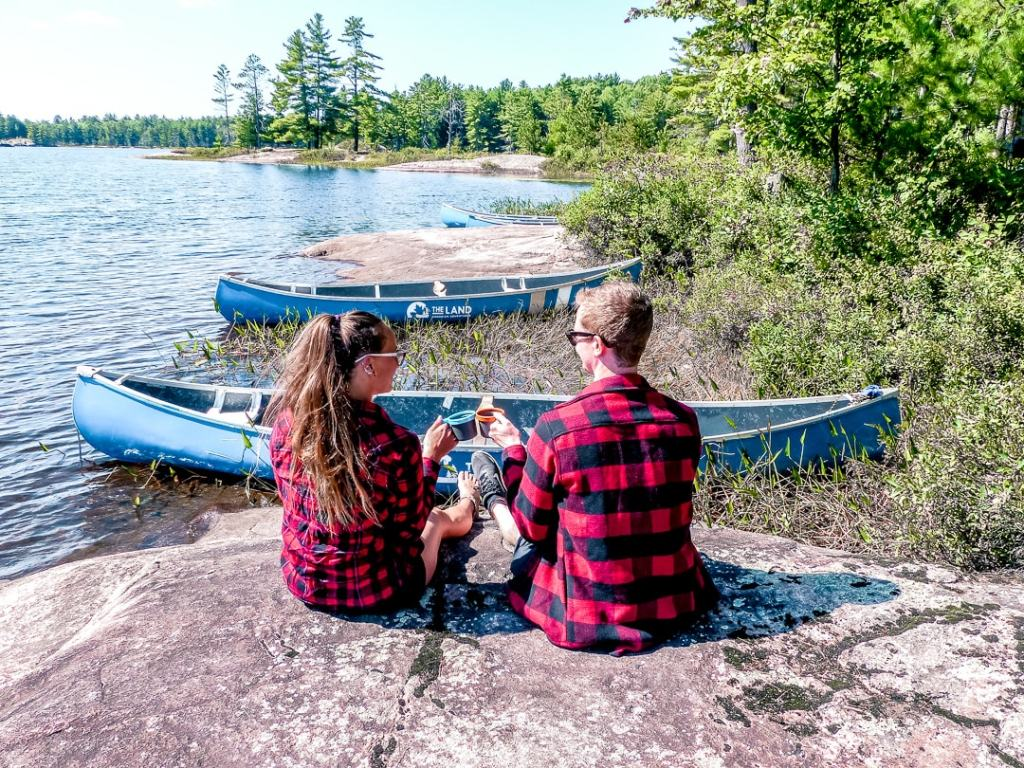 a coffee break while canoe tripping in Ontario