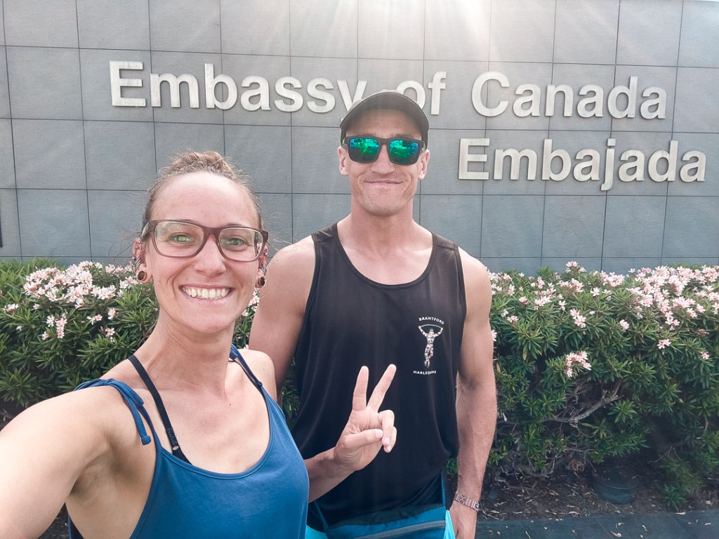 in front of the canadian embassy in peru