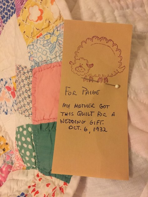 Paige's quilt with note