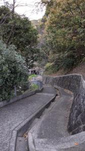 Stairs up to the park.