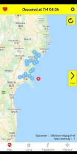 Yurekuru Call Earthquake Information Map