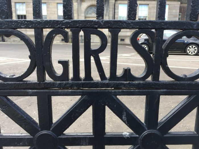 Wrought iron gate says 'Girls' at the girls' entrance to the former Leith Academy secondary school