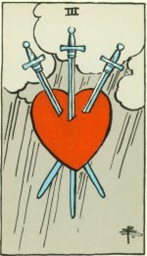 A Tarot card depicting a red heart pierced by three silver swords, with three clouds and falling rain in the background.