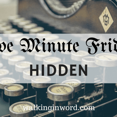 Five Minute Friday : HIDDEN