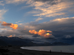 Sunset over Kaikoura beach, New Zealand