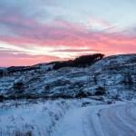 Sunrise over snow covered Ilkley Moor