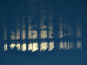 Reflections on a Ferry, graphic abstract photo taken
