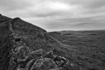 Hadrian's Wall in the Northumberland landscape in black and white