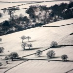 Rural countryside covered in snow