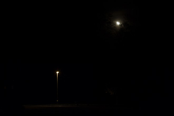 Street Light and the Moon composition, night photo