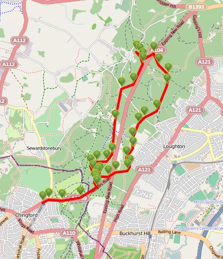 Walks And Walking - Essex Walks Epping Forest Kates Cellar Walking Route Map