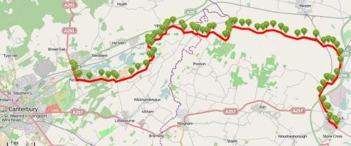 Walks And Walking - Kent Walks Sturry To Sandwich Walking Route Map