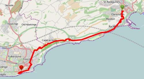 Walks And Walking - Kent Walks Dover To Folkestone Walking Route Map