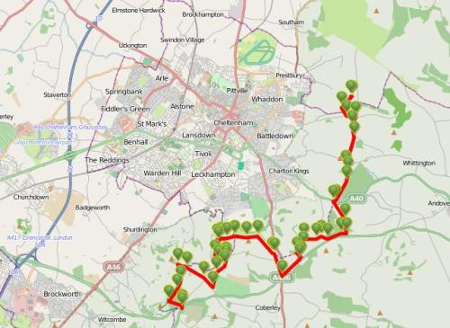 Walks And Walking – Cotswolds Walks Cheltenham Cotswold Way Walking Route Map