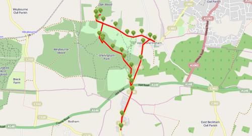 Walks And Walking - Sheringham Park National Trust Walking Route Map