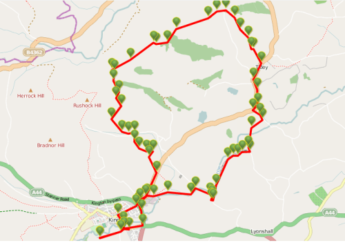 Walks And Walking - Newburn Farm Kington Walking Route - Map