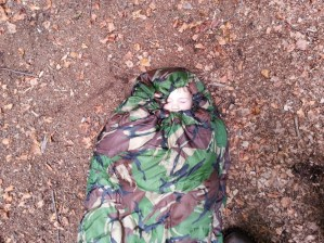 Walks And Walking - Pro Force Phantom Camo 250 Sleeping Bag - Closed With Tedi