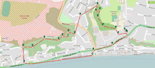 Walks And Walking - Sandgate Circular Walk in Kent - Map