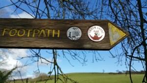 Walks And Walking - Fairlight Cove Dinosaur Walk in East Sussex - Saxon Shore Way Signpost At Sea Road